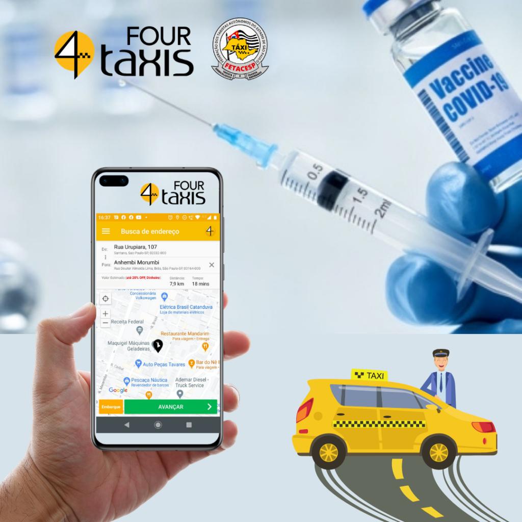 Vacina Covid: vá e volte de forma gratuita com o app Four Taxis.
